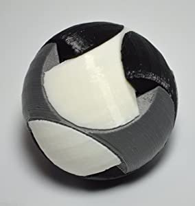 3D Printed Sphere Puzzle, White, Black and Gray