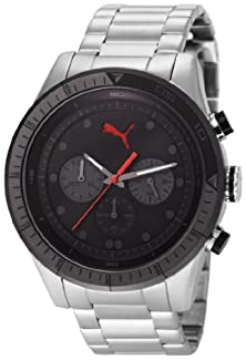 buy Puma Men'S Pu102821004 Silver Stainless-Steel Quartz Watch With Black Dial