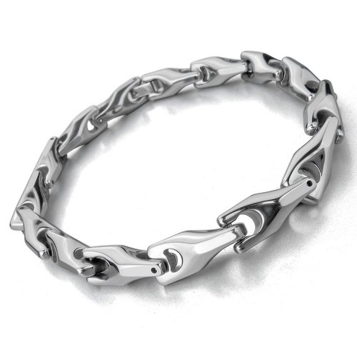 Justeel Men 7MM Tungsten Bangle Bracelet Chain Heavy Biker Silver Link , (Width x Length: 0.28 x inches)