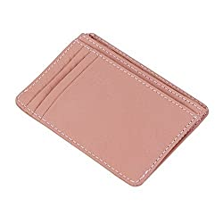 Genuine Leather Women's Credit Card Holder Slim Wallet Business Card Case Pink