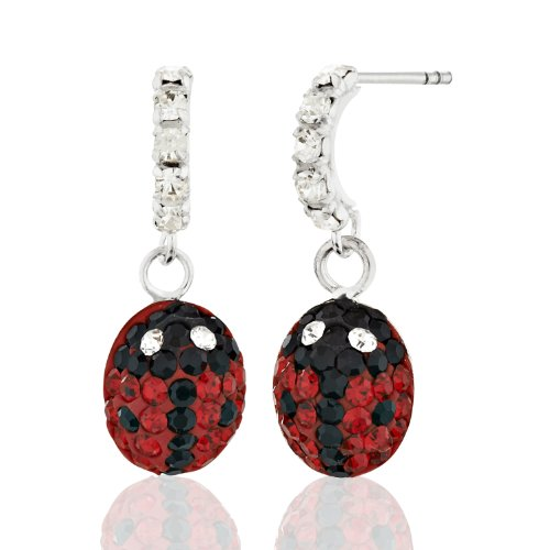 925 Sterling Silver & Crystal Glass Beautiful Spotted Red & Black Ladybug Dangle Earrings For Girls