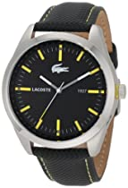 Lacoste Montreal Black Dial Black Leather Mens Watch 2010596