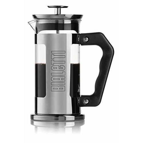 Bialetti 06700 3-Cup French Press Coffee Maker, Premium Stainless Steel, Silver