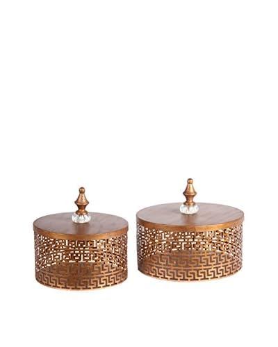 Set of 2 Iron Boxes, Gold