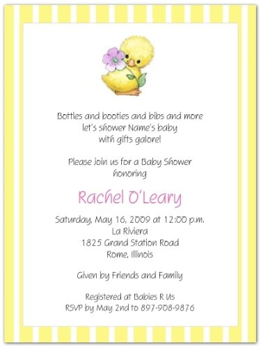 Yellow Ducky Baby Shower Invitations - Set Of 20 front-999562