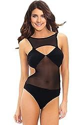 Qurves-Black Mesh Cut-out Bodysuit