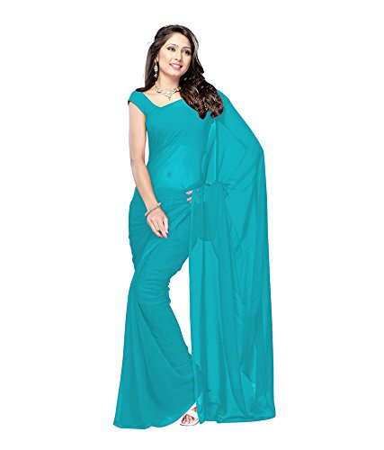 Lovely Look Latest collection of Plain Sarees in Georgette Fabric & in attractive Sky Blue Color