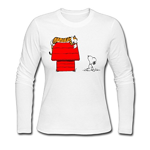 [LCNANA Calvin And Cute Hobbes Women's Long-Sleeve Tee White M] (Hobbes Costumes For Sale)
