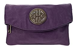 Canal Collection Multi Purpose Soft Foldable PVC Cross Body Clutch with Emblem (Purple)