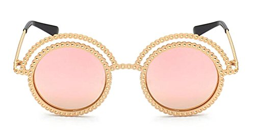 GAMT Round Sunglasses Metal Half Moon Frame Pink Lens (Half Moon Sun Shade compare prices)