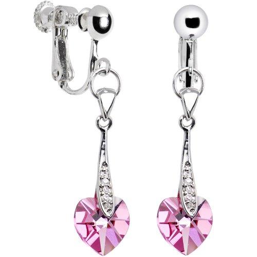 Austrian Crystal Heart October Birthstone Clip Earrings