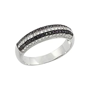 .925 Sterling Silver Micropave Simulated Colored Diamond Semi Eternity Band Size - 8