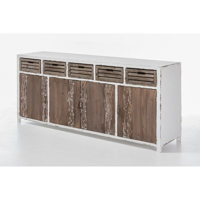 The Wood Times Sideboard XXL Massiv Vintage Shabby Chic Look, Tanne Massiv Holz, BxHxT 200x90x49 cm