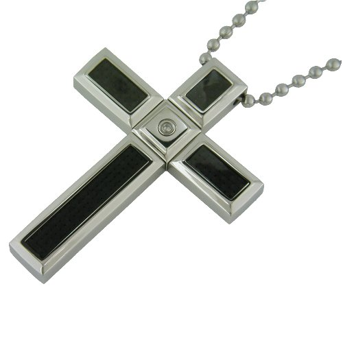 Stainless Steel Cross Pendant with Diamond-Accent and Carbon Fiber