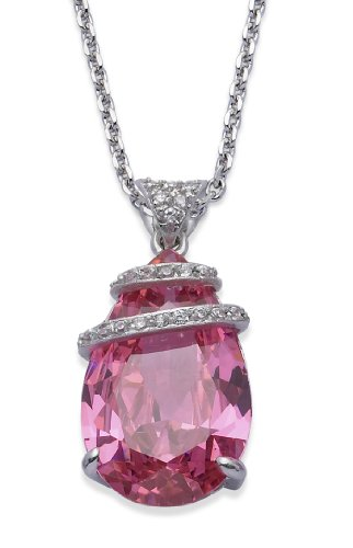 Silver Colour Metal with Pink Colour Crystal Pendant with Chain 41cm + 5cm Extender