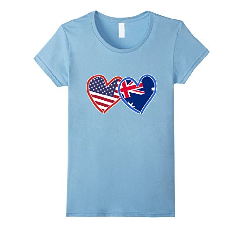 Women's Australian American Australia & America Flag T-Shirt Small Baby Blue (Australian Clothes compare prices)