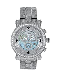 Aqua Master Men's Power One-Row Diamond Watch with Four-Link Full Diamond Bracelet, 11.60 ctw