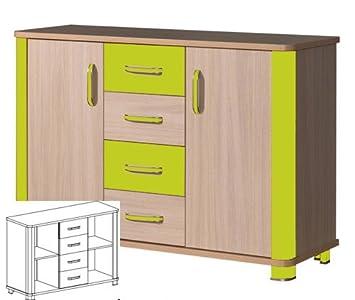 kommode sideboard anrichte kinderzimmer eiche milchig gr n db456. Black Bedroom Furniture Sets. Home Design Ideas