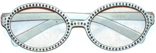 Accessories Fashion White Round Frame Glasses With Rhinestones