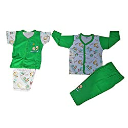 NammaBaby Premium Quality T-Shirt Pant and Nekar Shorts Combo Setof 4 Pc (0-4 months) (GREEN)