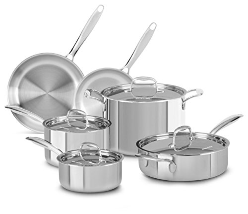 KitchenAid KCTS10SLST Tri-Ply Stainless Steel 10-Piece Cookware Set - Stainless Steel (Kitchenaid Triply compare prices)