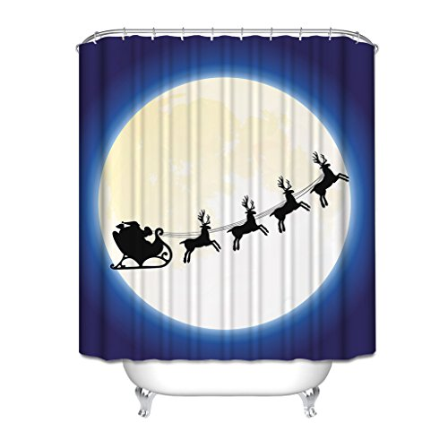 Christmas Gift, HGOD Designs Santa Claus Sit On Deer Cart Flying On The Moon Navy Blue Background Waterproof Shower Curtain with Night View,Modern Design Colletion for Bathroom, 48*72 Blue Moon Bath