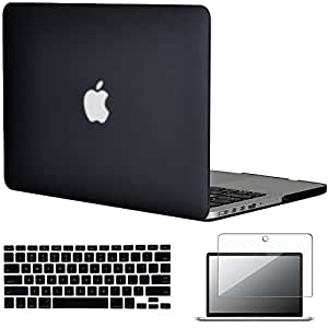 "Topideal 3in1 Frosted Matte Hard Shell Case Cover for Apple 13-inch MacBook Pro 13.3"" with Retina Display (Model A1502/ A1425) + Keyboard Cover + Screen Protector -Black"