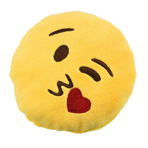 Ukamshop niedlich emoji smiley Kissen Weichen Cartoon gelb Kissen Spielzeug (Schlüsselanhänger werfen Kuss)