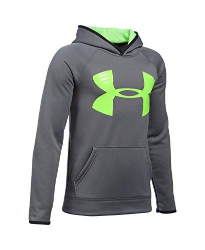 Under Armour Boys' Storm Armour Fleece Highlight Big Logo Hoodie, Graphite (041), Youth Medium