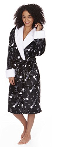 ladies-womens-super-soft-fleece-hooded-star-print-dressing-gown-robe-nightwear-black-size-medium