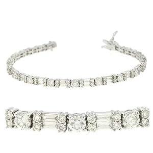 14k White 5.69 Ct Diamond Bracelet - JewelryWeb