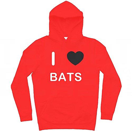 I Love Bats - Rosso Extra Large Felpa Con Cappuccio