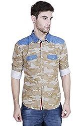Showoff Men's Full Sleeves Slim fit Khaki Printed Casual Shirt