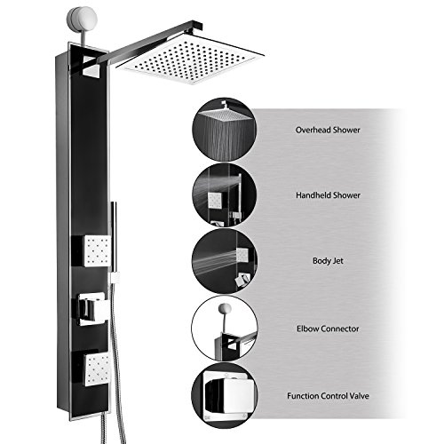 "Fantastic Deal! AKDY® 35"" Black Tempered Glass Wall Mount Easy Connection Bathroom Multi-Funct..."