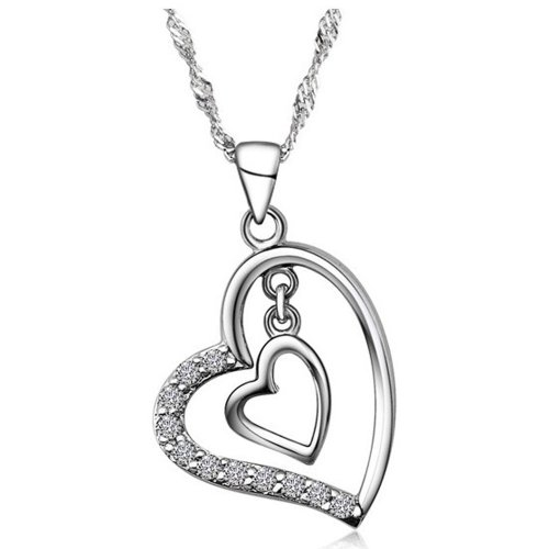 Chaomingzhen Rhodium Plated 925 Sterling Silver Cubic Zirconia Double Heart Shaped Pendant Necklace for Women Charm Fashion Jewellery for Girlfriend Length 18