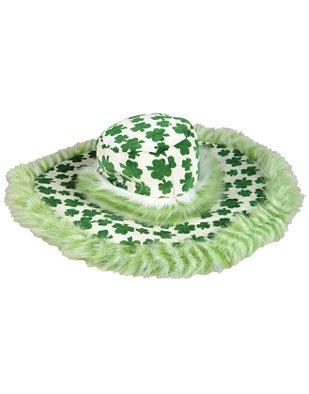 St. Patricks Day Irish Shamrock Fur Trim Fuzzy Pimp Hat