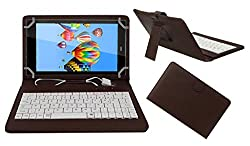 ACM PREMIUM USB KEYBOARD TABLET CASE HOLDER COVER FOR DIGIFLIP PRO XT811 With Free MICRO USB OTG - BROWN