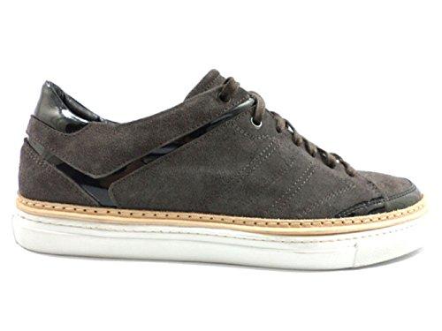 ALESSANDRO DELL' ACQUA KY337 sneakers uomo 45 EU grigio nero camoscio vernice