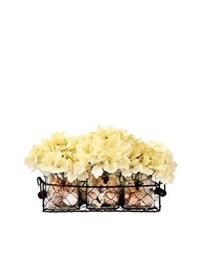 Creative Displays 3 Glass Vases of White Hydrangea in a Wire Baskets