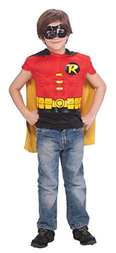 Boys Robin Muscle Shirt Cape Kids Child Fancy Dress Party Halloween Costume