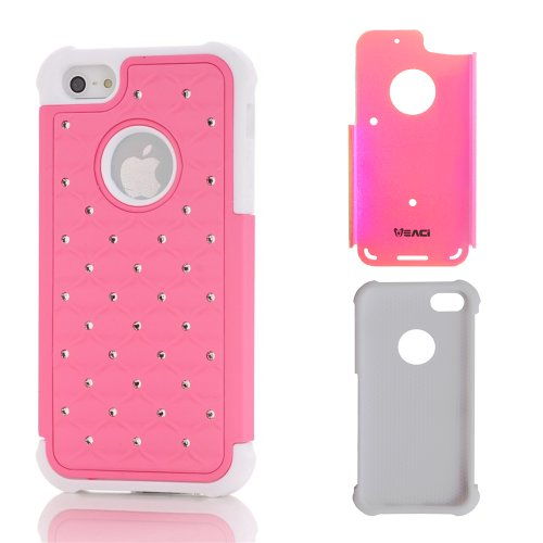 Meaci® Iphone 5 5S(Not For 5C) Combo Hybrid Case Glitter/Bling Studded Diamond Dual Layer Pc&Silicone Protective Case 1X Diamond Anti-Dust Plug Stopper(Random Color) (Light Pink)