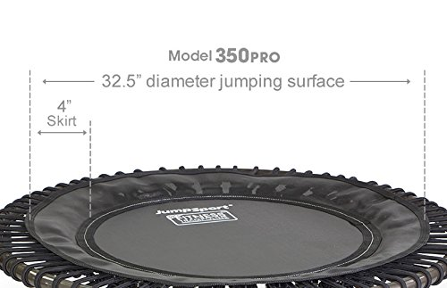 JumpSport Fitness Trampoline Model 350 PRO - Top Rated for Quality and Durability - Quietest Bounce - Included Music 4 Workouts DVD