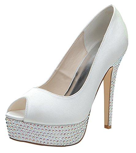 Zenf Women'S High Heel Platform Shoes White 8.5 Us