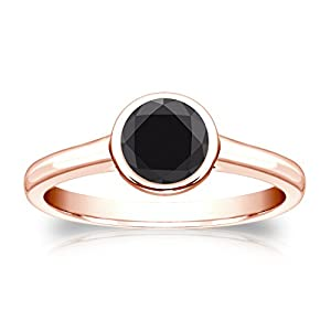14k Rose Gold Round-cut Black Diamond Bezel Solitaire Ring (1 cttw, Black color), Size 7.5