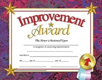 Hayes Improvement Certificate, 8-1/2 X 11 in, Paper, Pack of 30
