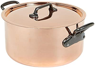 Mauviel M'Heritage Copper 150c 6431.25 6.4-Quart Stewpan and Lid with Cast Iron Handle