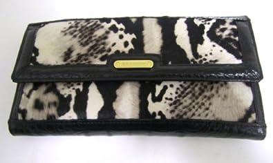 Brahmin Black Python Hair Luxe Soft Checkbook Wallet, Black