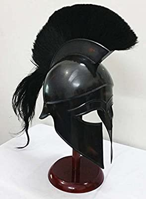 Greek Corinthian Helmet Ancient Medieval Armor Knight Spartan Replica Helmet with black plume