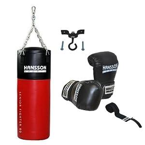 Hansson.Sports Boxset: Boxsack 80cm lang + Boxhandschuhe 14OZ + Bandage + Deckenhalter
