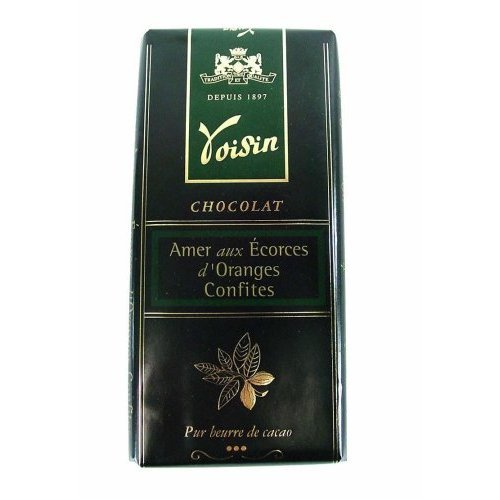 Bittersweet Chocolate Bar with Candied Orange Peel 100 g (3.5 oz) by Voisin, One